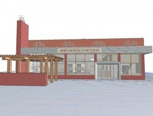 A 3D rendering of the Marin Museum of Bicycling.