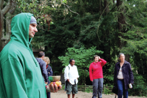 Aaron Tozier waits to lead the group of veterans on a walk through Green Gulch Farm Zen Center.