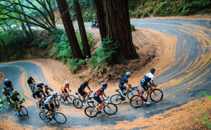 Riders negotiate a hairpin turn.