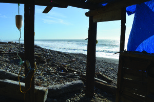A small, hard-to-get-to beach shack on the California coast provides a 'million-dollar view of the ocean.' Staff photo.