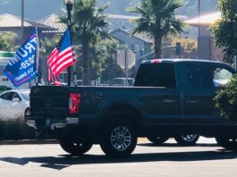 Marin City Trump Train truck with flags